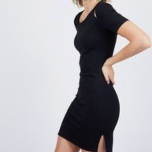 Noir Little Black Dress Fitted Cutout Shoulder